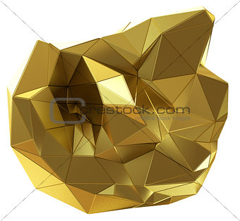 Abstract golden shape isolated on white
