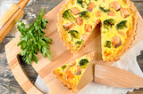 delicious pie with salmon and broccoli