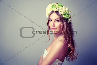 Beautiful Woman with Wreath of Roses
