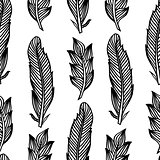 Black white seamless pattern with feathers. Boho Style Elements. Vector Drawing.