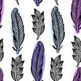 Colorful seamless pattern with feathers. Boho Style Elements. Vector Drawing.