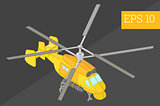 helicopter isometric vector illustration