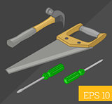 tools collection isometric vector illustration