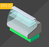 refrigerator counter isometric vector illustration