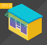 counter kiosk isometric vector illustration