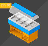 counter cart isometric vector illustration