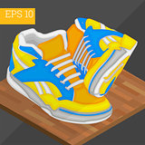 sneakers shoes isometric vector illustration