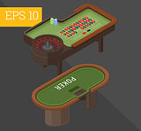 gambling tables isometric vector illustration