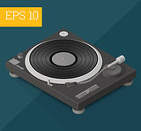 dj turntable isometric vector illustration