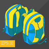 school backpack isometric vector illustration