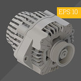 alternator isometric vector illustration