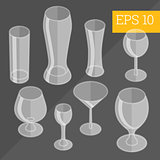 glassware isometric vector illustration
