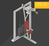 lat pulldown isometric vector illustration