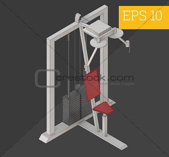 lat pulldown isometric vector illustration