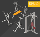 gym equipment isometric vector illustration