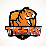 Tiger shield sport mascot template. Premade football or basketball patch design. College league insignia, High school team vector