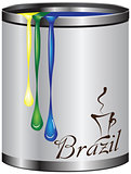 Metal tin with paint color flag of Brazil