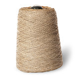 Vertical bobbin of old dirty thread beige