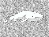 Coloring page with whale in the floral sea.