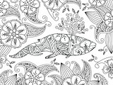 Coloring page with ornate whale on flower background.