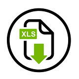 XLS file download simple icon