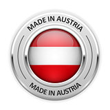 Silver medal Made in Austria with flag