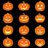 Halloween set with pumpkins