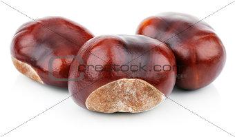 Three chestnuts on white