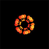 Isolated abstract orange flower vector logo. Sun illustration.