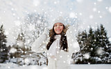 happy woman outdoors in winter