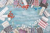 Abstract medicine pills background