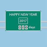 happy new year road sign