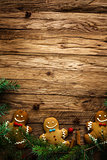 Gingerbread man on wood