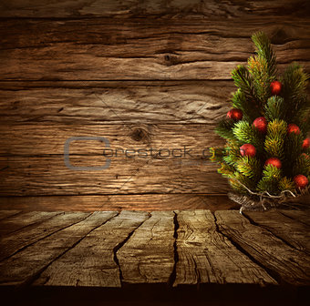 Tabletop with Christmas tree