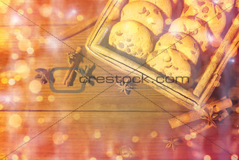 close up of oat cookies on wooden table