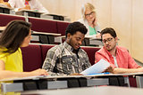 group of international students in lecture hall