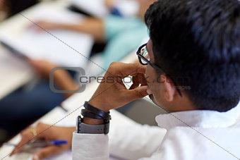 close up of indian student at university lecture