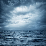 Stormy Sea and Sky. Dark Dramatic Background.