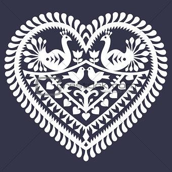 Folk heart pattern for Valentine's Day - Wycinanki Kurpiowskie (Kurpie Papercuts)