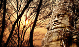 Giant stone face in Prasat Bayon Temple, Angkor Wat, Cambodia