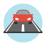 Car on the road icon flat