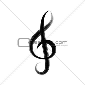 Black vector treble clef icon