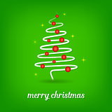 Green christmas card with christmas tree