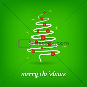 Green christmas card with christmas tree