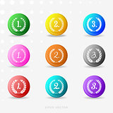 Vector round colorful medals with laurel wreaths
