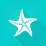 White vector starfish simple flat icon