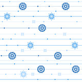 Vector seamless pattern with stripes, snowflakes