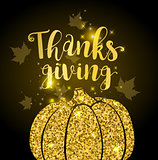 Luxurious golden glitter card with pumpkin