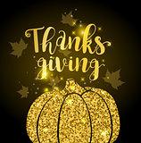 Luxurious golden glitter card with pumpkin