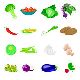 Vegetables photo realistic, vector set